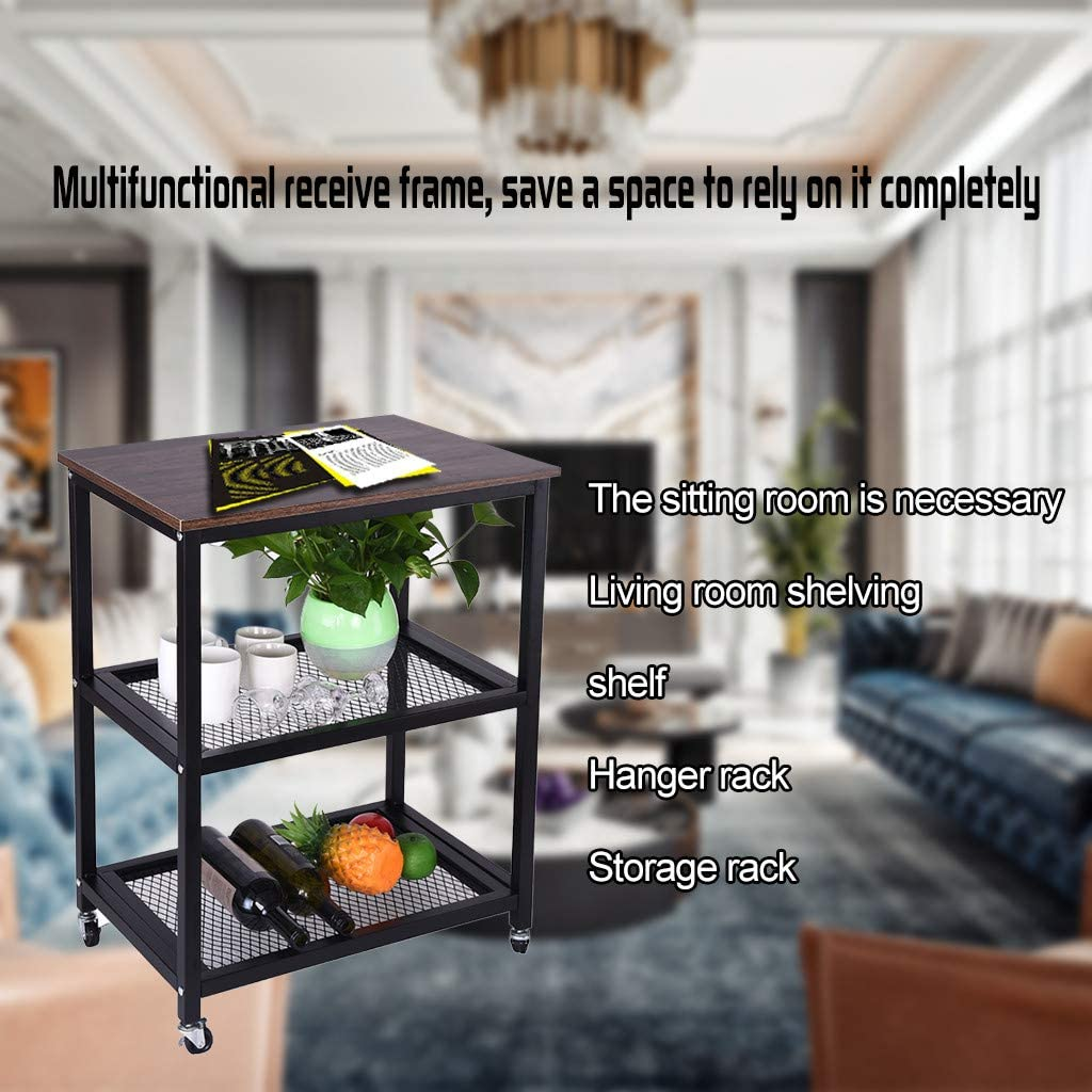 Lazy Sofa Desk, Wood Look Accent Furniture with Metal Frame 3-Tier Kitchen Utility Cart On Wheels Removable Sofa Tea Desk Dacorda Vintage Serving Cart for Living Room with Storage Space
