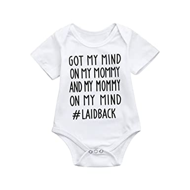 093e7f5e3f57 Sixcup 0-24 Months Baby Clothing Newborn Baby Girls Boys Cotton Letter  Nappy Costume Clothes Bodysuit Romper Jumpsuit Outfit Set  Amazon.co.uk   Clothing