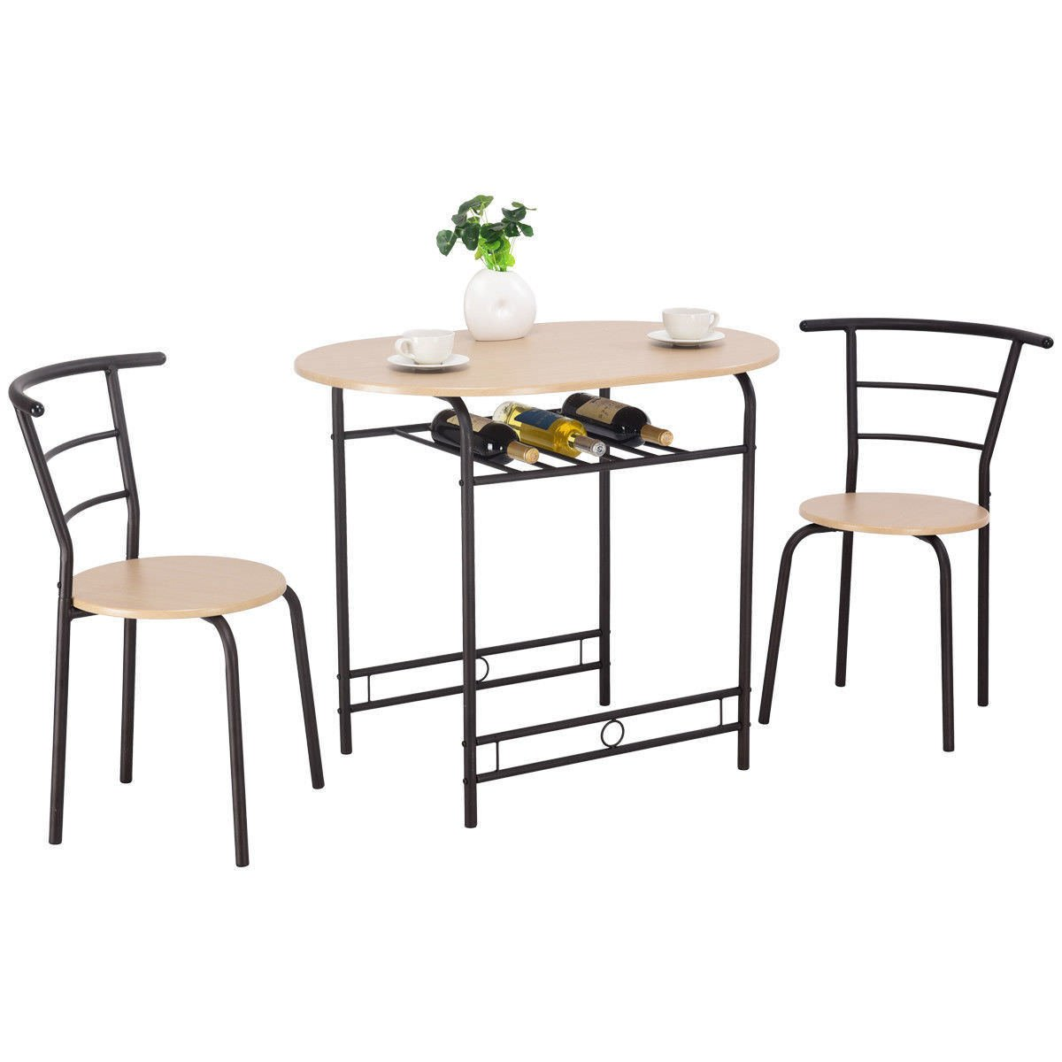 Giantex 3 PCS Dining Table Set w/1 Table and 2 Chairs Home Restaurant Breakfast Bistro Pub Kitchen Dining Room Furniture (Natural)