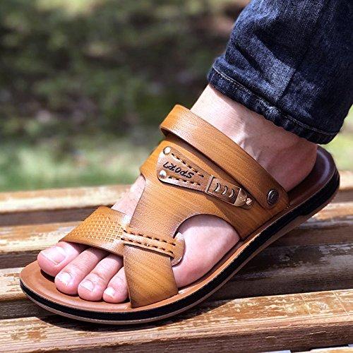 Xing Lin Sandalias De Hombre Los Hombres Sandalias De Cuero Auténtico Calzado De Playa De Verano Casual Coreano Zapatillas Antideslizante Dichotomanthes Abajo yellow