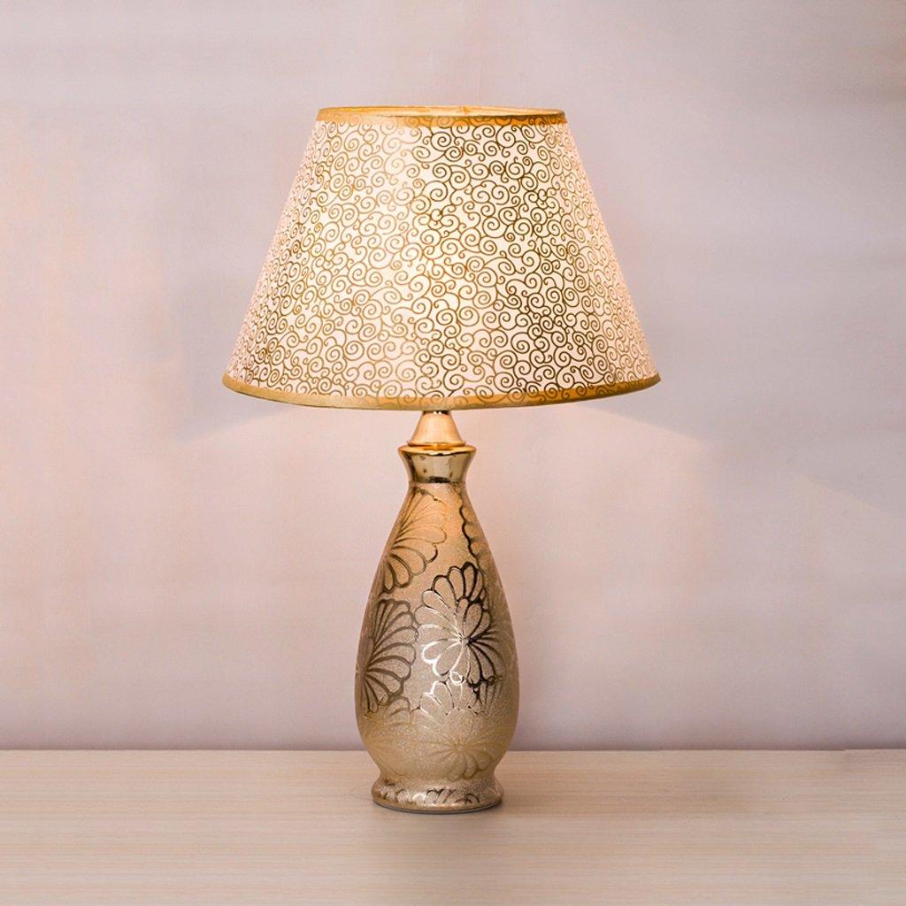wshfor Lámpara de escritorio de estilo europeo moderno Lámpara Lámpara moderno de dormitorio de cerámica creativa / Salón Lámpara de lectura de decoración de hotel Hermoso color dorado ac150b