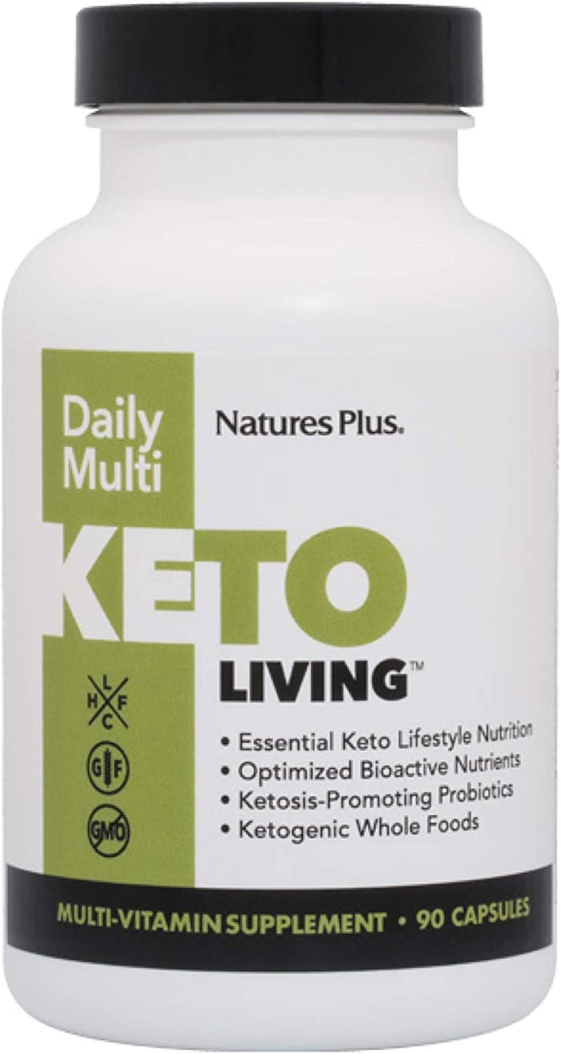KetoLiving Daily Multi Capsules - 90 Vegetarian Capsules - Supports Keto & LCHF Diet Lifestyle - Whole Body Nutrition - with Probiotics & Whole Foods - Gluten-Free - 30 Servings