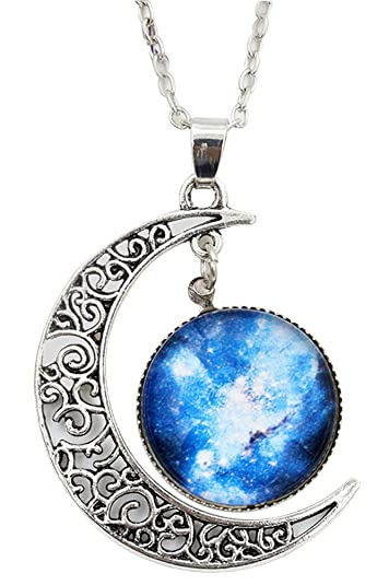 ea5c0812af4bf Collier-SODIAL(R) Femme Galactique Verre Cabochon Pendentif Croissant Lune  Collier(Couleur