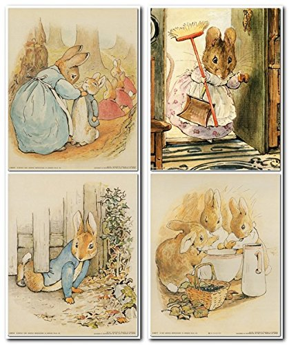 Impact Posters Gallery The Tale of Peter Rabbit Beatrix Potter Kids Room Four Set 8x10 Wall Decor Art Print Poster