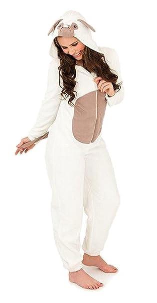 Mujer Forro Polar Onesie con capucha todo en uno mono de peluche perro carlino Pjs pijama