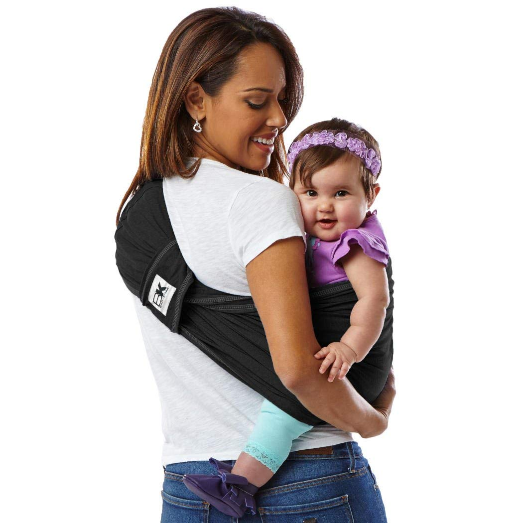 Baby K tan Original Baby Wrap Carrier, Infant and Child Sling – Simple Wrap Holder for Babywearing – No Rings or Buckles – Carry Newborn up to 35 lbs, Black, Women 6-8 Small , Men 37-38