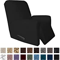 """Easy-Going 4 Pieces Microfiber Stretch Recliner Slipcover €"""" Spandex Soft Fitted Sofa Couch Cover, Washable Furniture Protector with Elastic Bottom for Kids,Pet (Recliner,Black)"""