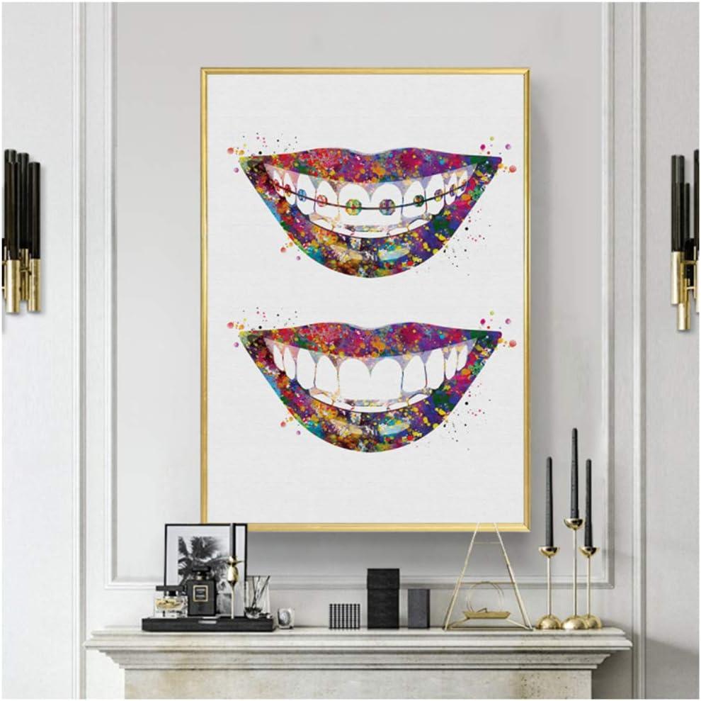 Cuadro de pared con diseño de dientes dentales, raíces de arte médico, incisivos molares, dentista, clínica, pintura en lienzo, Sin marco, 60x90cm(23.6