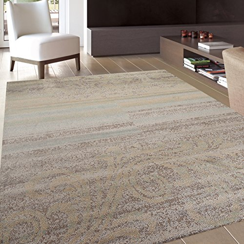 Transitional Scroll Blue Stripes Area Rug 3'3