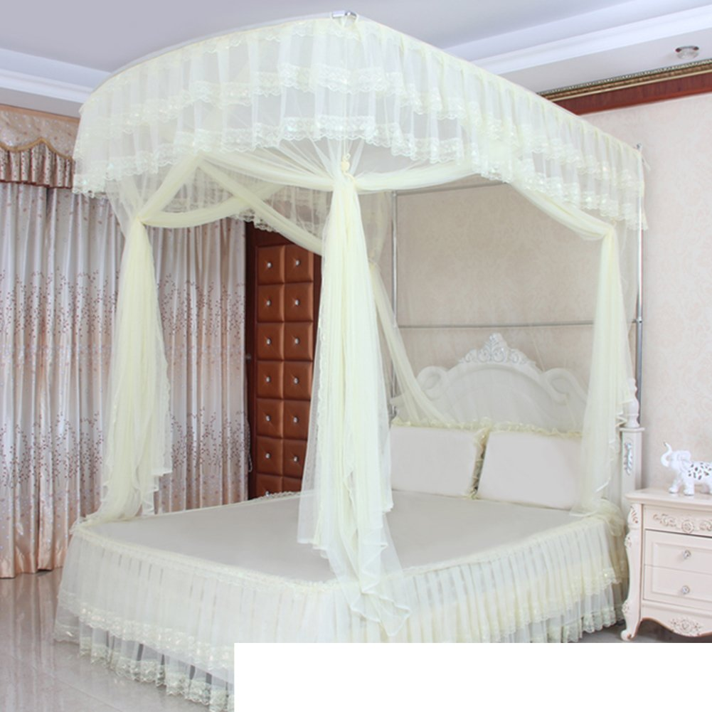 Square netting curtains,Folding bed canopy anti mosquito bites perfect for indoors and outdoors, Playgrounds, Fits most size beds encryption three-door netting curtains-A King
