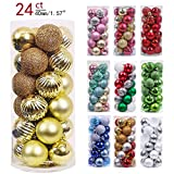 Valery Madelyn 24ct 40mm Essential Gold Basic Ball Shatterproof Christmas Ball Ornaments Decoration Clearance,Themed with Tree Skirt(Not Included)