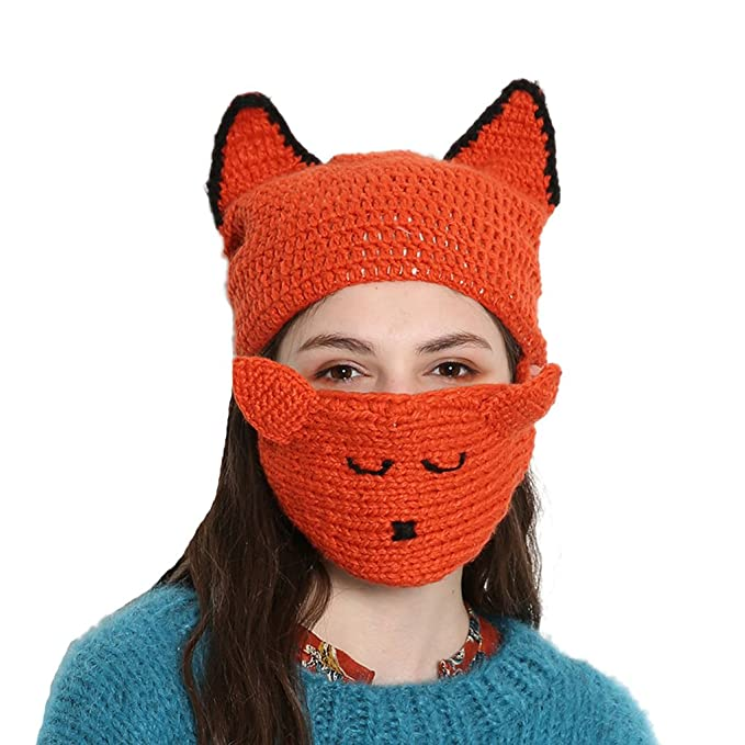 7888895855e46f Image Unavailable. Image not available for. Color: BIBITIME Knitted Fox  Beanie Hat with Visor Mask Winter ...