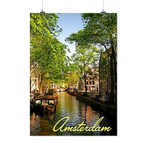 Amsterdam City Lake Town River Matte/Glossy Poster A4 (9x12 inches) | - Lake Commons France