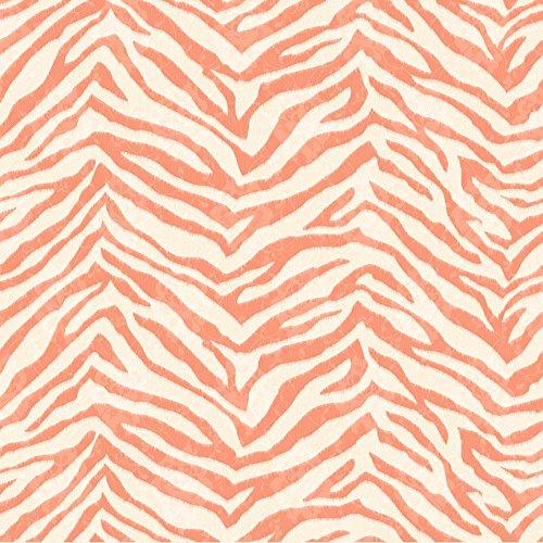 Chesapeake CHR11676 Mia Orange Faux Zebra Stripes Wallpaper (Beige Faux Stripe Wallpaper)