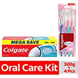 Colgate Active Salt Toothpaste - 300 g with Sensitive Toothbrush (Pack of 4)