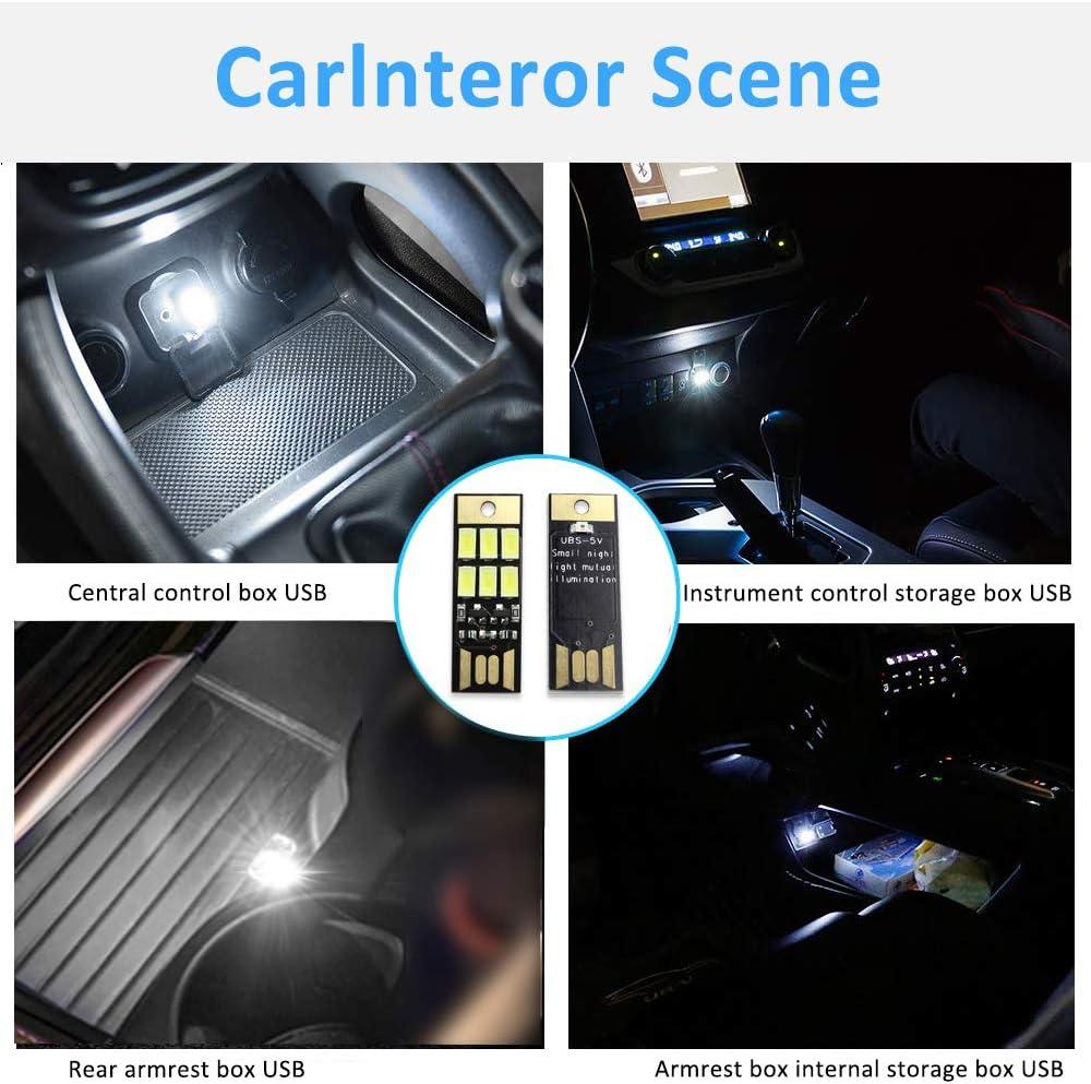 CIIHON 5 PCS Car Mini USB LED Light Auto Universal Dust-to-Dawn Sensor Key-Chain Night Light Vehicle Interior Home Laptop PC Portable Charger Decoration Atmosphere Light White