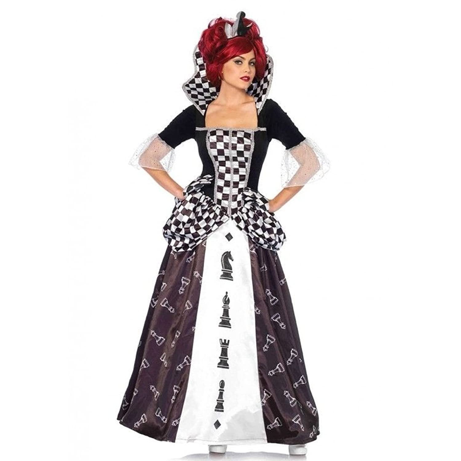 Alice Through the Looking Glass Adult Red Queen's Checkered Dress Outfit - DeluxeAdultCostumes.com