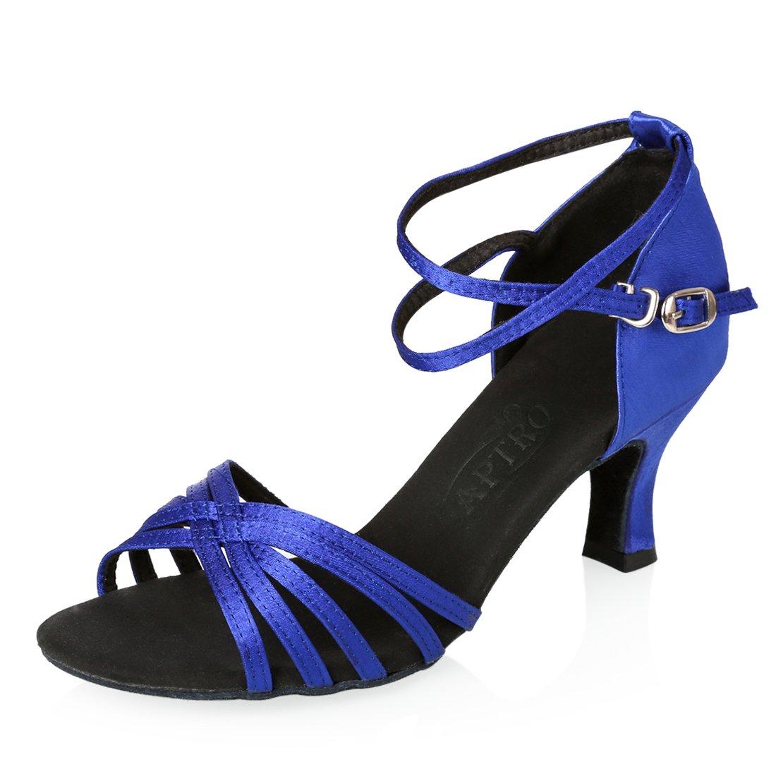 APTRO Damen Schuhe Tanzschuhe Ballsaal Latin Tanzen Silber Sandalen  38 EU|Blau