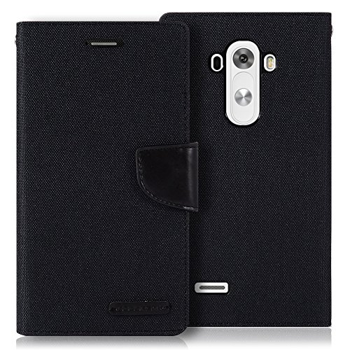 LG G3 Case, [Drop Protection] GOOSPERY Canvas Diary [Denim Material] Wallet Case [ID Credit Card and Cash Slots] with Stand Flip Cover for LG G3 - Black / Black