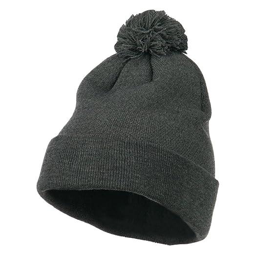 9c752827d20 Amazon.com  MG Pom Beanie with Cuff - Dark Grey OSFM  Clothing