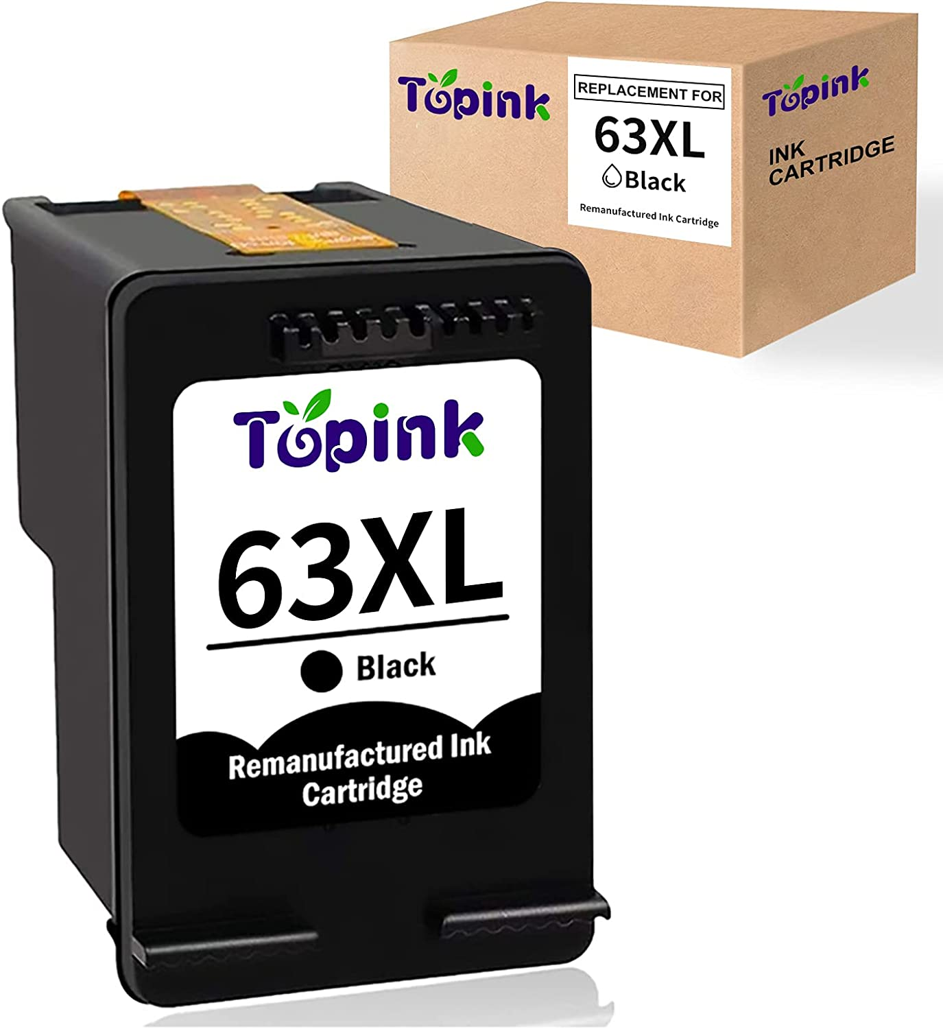Topink Remanufactured Ink Cartridge Replacement for HP f6u62a 63XL 63 XL Black Ink Cartridge to use with HP OfficeJet 3830 Envy 4520 4512 Officejet 4650 5255 Deskjet 1112 3634 3639 3632 Printer