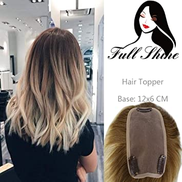 Full Shine Toupee Hair Piece Ombre Color 3 Dark Drown Fading To 8 Ash  Brown And 613 Blonde