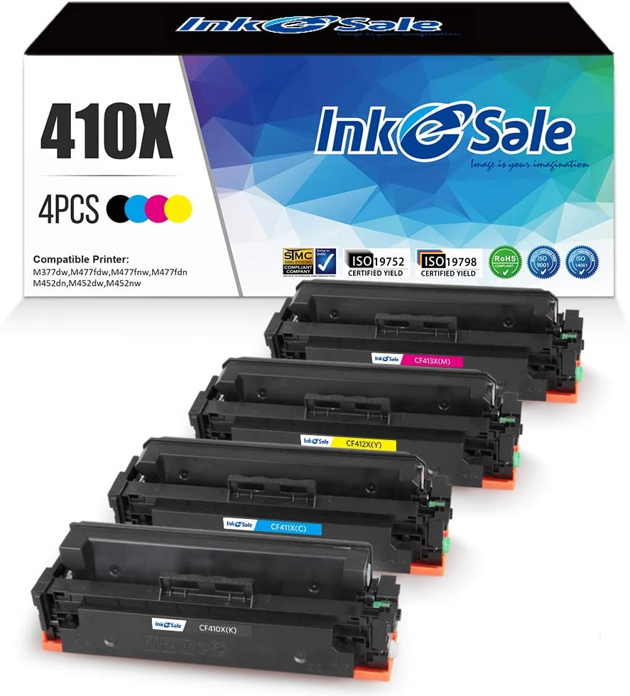 INK E-SALE Compatible Toner Cartridge Replacement for HP 410X CF410X 410A CF410A (KCMY, 4 Packs), for use with HP Color Laserjet Pro MFP M477fdn M477fnw M477fdw M477 M452nw M452dn M452dw M452
