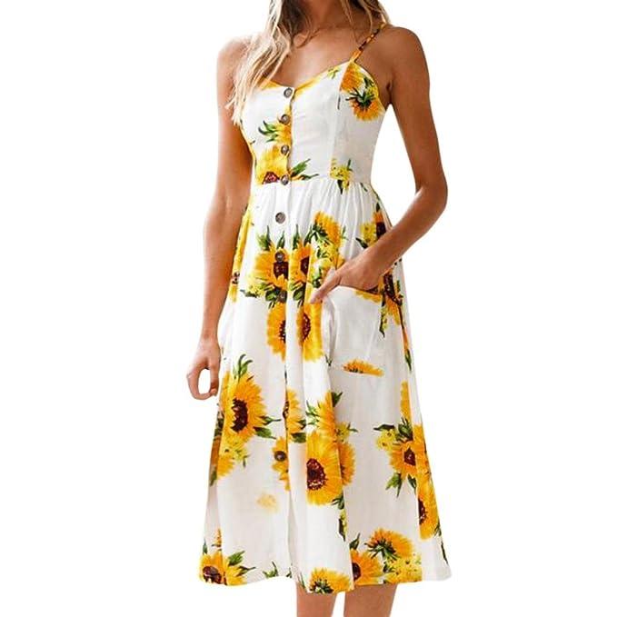 Lenfesh Mujer Girasol Midi Vestidos Sin Mangas Floral Vestido con Botones Playa Primavera Verano 2018 (XL, Amarillo): Amazon.es: Ropa y accesorios