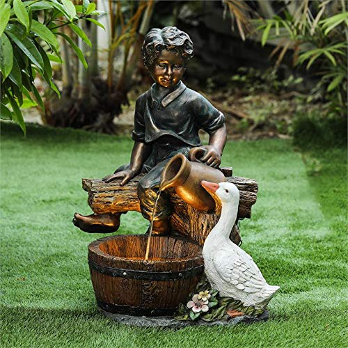 Fountain Goose - Winsome House Polyresin Boy and Goose Patio Fountain in Bronze