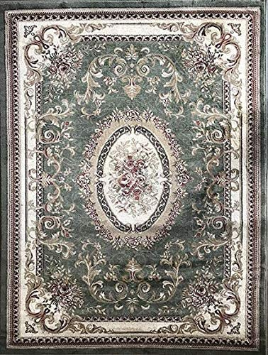 Traditional Door Mat Oriental Aubusson Floral Area Rug Persian Green Burgundy Beige Ivory Black Design 602 31 Inch X 4 Feet 11 Inch