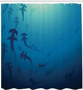 CLXMT Navy Blue Shower Curtain Hammerhead Shark Print for Bathroom Shower Curtain Durable Fabric Accessories Creative with 12 Hooks 180X180CM