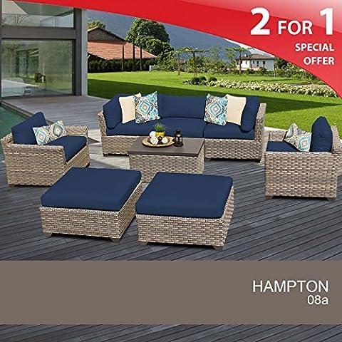 Hampton 8 Piece Outdoor Wicker Patio Furniture Set 08a - Classic Spring Club Chair Frame