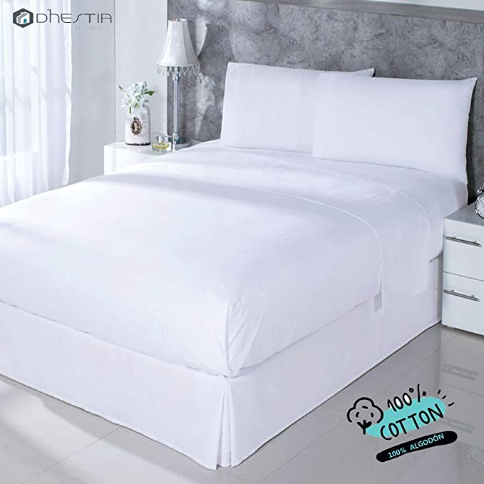 Dhestia Hostelería-Juego Sábanas Blancas Hotel 100% Algodón, Encimera, Bajera, Fundas Almohada, (Cama 90 X 190/200 Cm): Amazon.es: Hogar