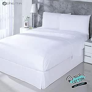 Dhestia Hostelería-Juego Sábanas Blancas Hotel 100% Algodón ...