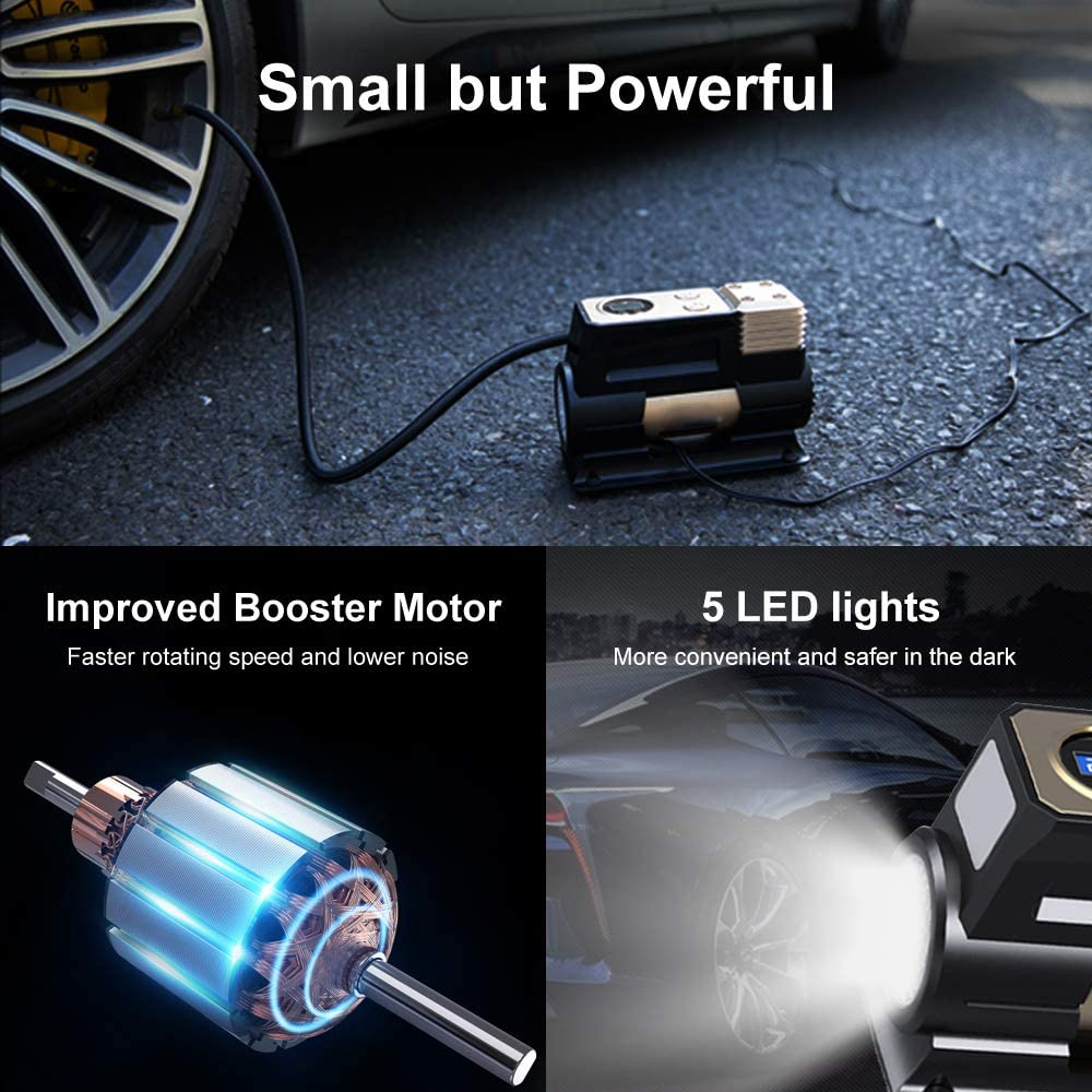 Bicycle and Others WOLFBOX Portable Air Compressor Pump,DC 12v Tire Air Compressor for Car with Digital Pressure Gauge,Small Mini Air Compressor Tire Inflator with Preset Tire Pressure for Car