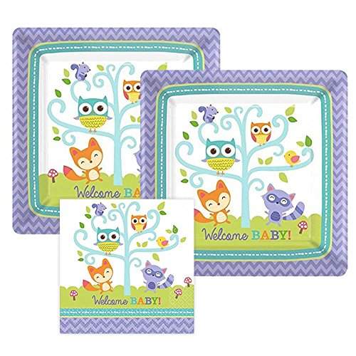 Woodland Welcome Baby Shower Paper Plates and Napkins, Bundle- 3 - Square The Market Woodlands