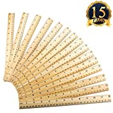 SUBANG 15 Packs Student Ruler Wood Ruler Wooden School Rulers Office Ruler Measuring Ruler, 2 Scale (12 Inch and 30 cm)
