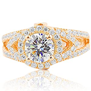 Rose Gold Tone Engagement Ring Silver Halo Style Solitaire With CZ 4 Prong Classic