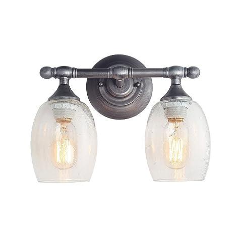 bc0dbbfd847ef LOG BARN 2-Light Bathroom Vanity Lighting Wall Lights Aged Steel Wall  Sconces Vanity Lights