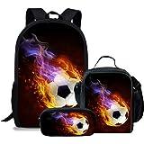 d883a7d8bc36 LedBack Football Print School Bag and Lunch Bag for Boys Girls Travel  Backpack