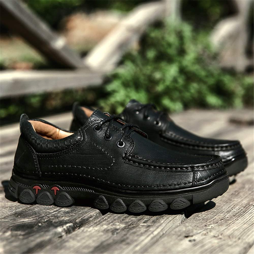Qiusa Outdoor Wanderschuhe für Männer schnüren U-Spitze Sneaker weiche Sohle Bequeme Rutschfeste Sneaker U-Spitze (Farbe : Khaki, Größe : EU 40) Schwarz 1940bd