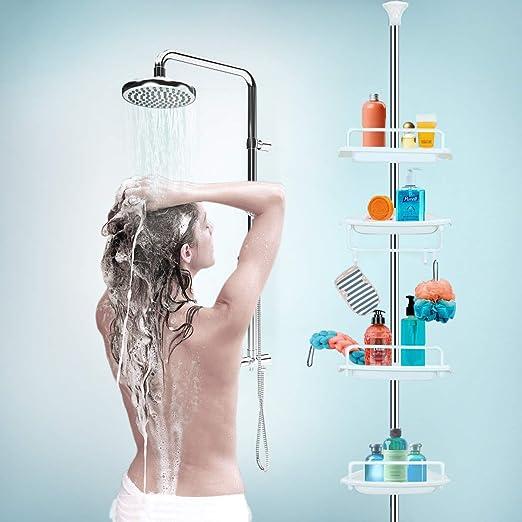 Soap Body Wash InterDesign 42687 York Bathroom Constant Tension Corner Shower Caddy for Shampoo Conditioner Matte Black