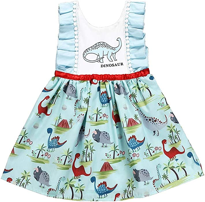 Cinnamou Vestidos de Bebe Niñas Letra Ropa de Bebés Pequeño Niños Lindo Estampado Dibujos Animados de Dinosaurio Vestido para Niña