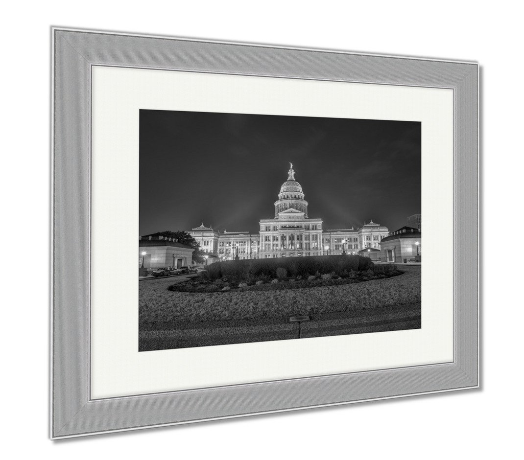 Ashley Framed Prints The Texas State Capitol Building Extension Night, Wall Art Home Decoration, Black/White, 34x40 (frame size), Silver Frame, AG6099850