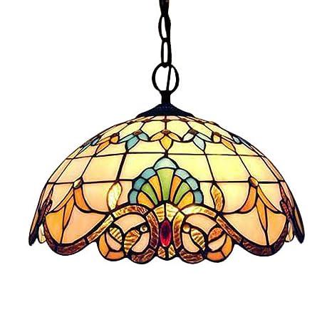 MHHQ Diseño de la vendimia Luz pendiente de Tiffany, que cuelgan del techo Lightin Ronda Lámpara rústica Pastoral Stained Glass Decoración Samsung ...