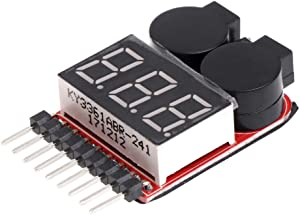 1-8S Lipo/Li-ion/Fe RC Boat Battery 2 in 1 Tester LED Low Voltage Buzzer Alarm Battery Monitor