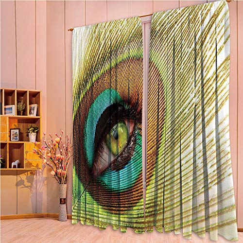 (ZHICASSIESOPHIER Finel Kids Curtains for Living Room Bedroom Window Curtains Baby Room Lovely Children Curtains Drapes,Peacock Feather Eye Creative Decorating 84Wx95L Inch)