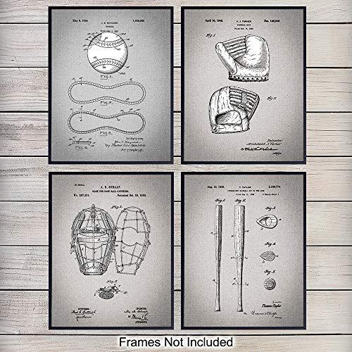 - Baseball Patent Art Prints - Vintage Retro Wall Art Poster Set - Chic Contemporary Home Decor for Boys, Teens, Game, Kids Room, Den, Office - Great Gift for Men, Boys - 8x10 Photo - Unframed