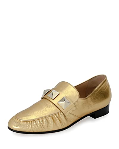3876801a724 Image Unavailable. Image not available for. Color  Valentino Garavani  Rockstud Metallic Leather Loafer ...