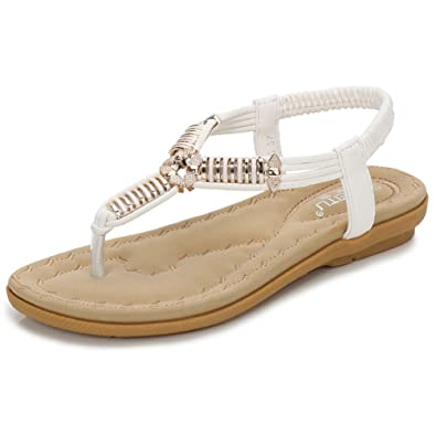 3309e9912762f JITIAN Sandales Plages Plates Mode Mules Bride Arrière Salomé Confort Clip  Toe Tongs Chaussures Femmes Blanc